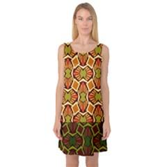 Geometry Shape Retro Trendy Symbol Sleeveless Satin Nightdress