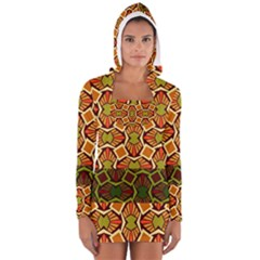 Geometry Shape Retro Trendy Symbol Women s Long Sleeve Hooded T-shirt