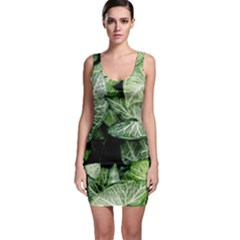 Green Leaves Nature Pattern Plant Sleeveless Bodycon Dress