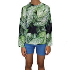 Green Leaves Nature Pattern Plant Kids  Long Sleeve Swimwear
