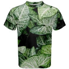 Green Leaves Nature Pattern Plant Men s Cotton Tee