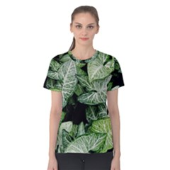 Green Leaves Nature Pattern Plant Women s Cotton Tee