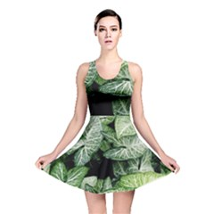 Green Leaves Nature Pattern Plant Reversible Skater Dress