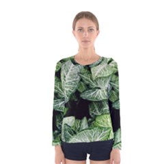 Green Leaves Nature Pattern Plant Women s Long Sleeve Tee