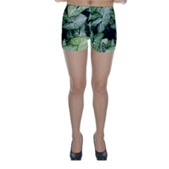 Green Leaves Nature Pattern Plant Skinny Shorts