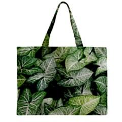 Green Leaves Nature Pattern Plant Zipper Mini Tote Bag