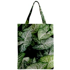 Green Leaves Nature Pattern Plant Zipper Classic Tote Bag
