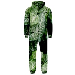Green Leaves Nature Pattern Plant Hooded Jumpsuit (men)