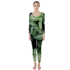 Green Leaves Nature Pattern Plant Long Sleeve Catsuit