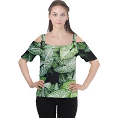 Green Leaves Nature Pattern Plant Women s Cutout Shoulder Tee