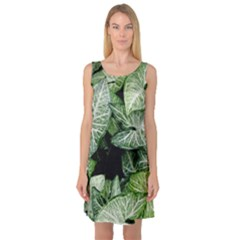 Green Leaves Nature Pattern Plant Sleeveless Satin Nightdress