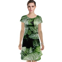 Green Leaves Nature Pattern Plant Cap Sleeve Nightdress