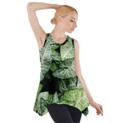 Green Leaves Nature Pattern Plant Side Drop Tank Tunic