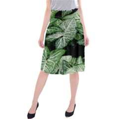 Green Leaves Nature Pattern Plant Midi Beach Skirt
