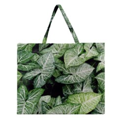 Green Leaves Nature Pattern Plant Zipper Large Tote Bag