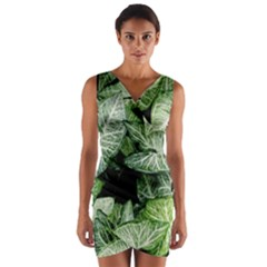 Green Leaves Nature Pattern Plant Wrap Front Bodycon Dress