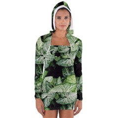 Green Leaves Nature Pattern Plant Women s Long Sleeve Hooded T Shirt