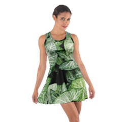 Green Leaves Nature Pattern Plant Cotton Racerback Dress