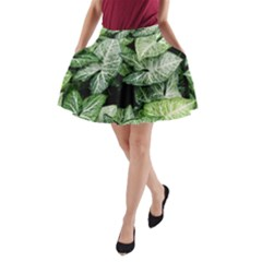 Green Leaves Nature Pattern Plant A-Line Pocket Skirt