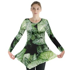 Green Leaves Nature Pattern Plant Long Sleeve Tunic