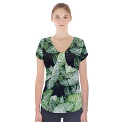 Green Leaves Nature Pattern Plant Short Sleeve Front Detail Top