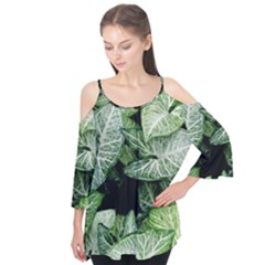Green Leaves Nature Pattern Plant Flutter Tees