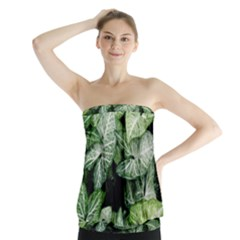 Green Leaves Nature Pattern Plant Strapless Top