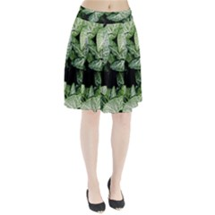 Green Leaves Nature Pattern Plant Pleated Skirt