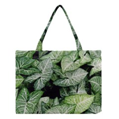 Green Leaves Nature Pattern Plant Medium Tote Bag