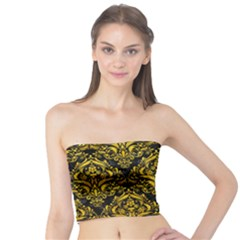 Damask1 Black Marble & Yellow Marble Tube Top