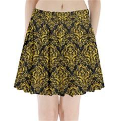DMS1 BK-YL MARBLE Pleated Mini Skirt