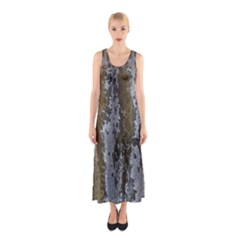Grunge Rust Old Wall Metal Texture Sleeveless Maxi Dress