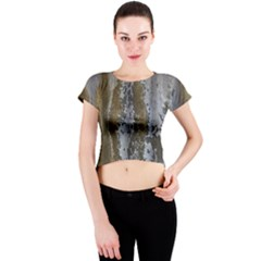 Grunge Rust Old Wall Metal Texture Crew Neck Crop Top