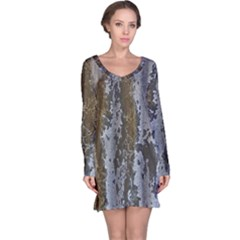 Grunge Rust Old Wall Metal Texture Long Sleeve Nightdress
