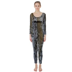 Grunge Rust Old Wall Metal Texture Long Sleeve Catsuit
