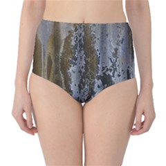 Grunge Rust Old Wall Metal Texture High-Waist Bikini Bottoms