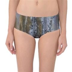 Grunge Rust Old Wall Metal Texture Mid Waist Bikini Bottoms