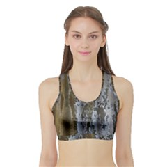 Grunge Rust Old Wall Metal Texture Sports Bra With Border