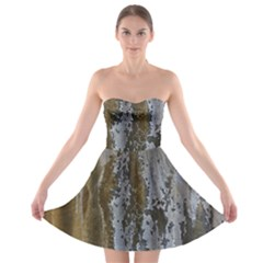 Grunge Rust Old Wall Metal Texture Strapless Bra Top Dress