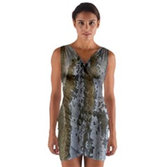 Grunge Rust Old Wall Metal Texture Wrap Front Bodycon Dress