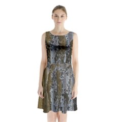 Grunge Rust Old Wall Metal Texture Sleeveless Chiffon Waist Tie Dress