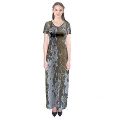 Grunge Rust Old Wall Metal Texture Short Sleeve Maxi Dress