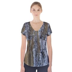 Grunge Rust Old Wall Metal Texture Short Sleeve Front Detail Top