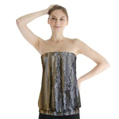 Grunge Rust Old Wall Metal Texture Strapless Top
