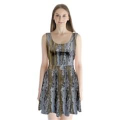 Grunge Rust Old Wall Metal Texture Split Back Mini Dress
