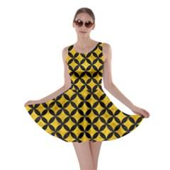 Circles3 Black Marble & Yellow Marble (r) Skater Dress