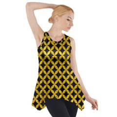 Circles3 Black Marble & Yellow Marble Side Drop Tank Tunic