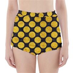 CIR2 BK-YL MARBLE High-Waisted Bikini Bottoms