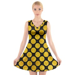 Circles2 Black Marble & Yellow Marble V Neck Sleeveless Dress