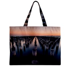 Logs Nature Pattern Pillars Shadow Zipper Mini Tote Bag